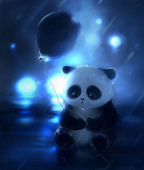 Sad cute panda