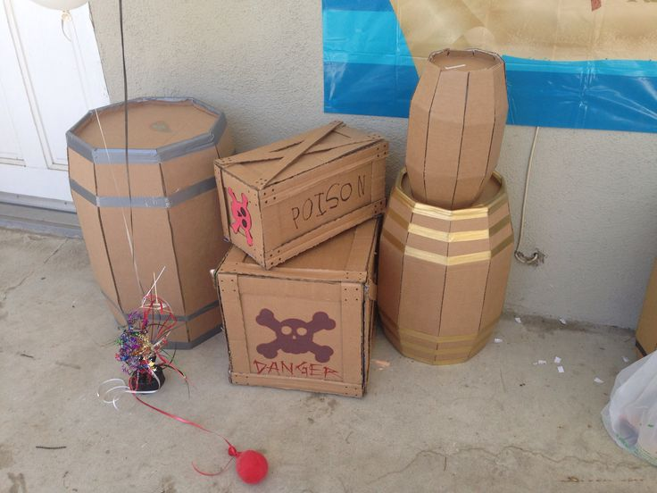 pirate party cardboard barrels pirate themed pinterest