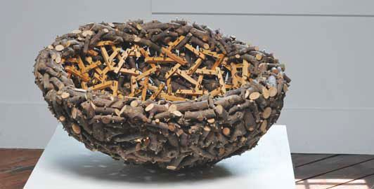 """Gyöngy Laky  apple, commercial wood, screws, 16 x 30"""" x 30"""", 2007"""
