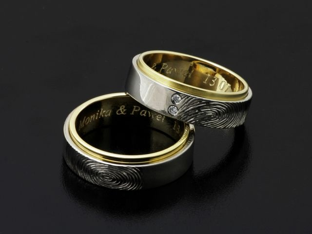 #Rings by #Bielak  #Poland  yellow #gold / #palladium  with #fingerprint  www.ringsbybielak.com