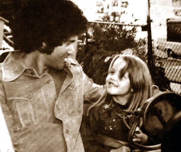 The ORIGINAL: Mike Stone with six-year-old Lisa Marie Presley, Beverly Park, Los Angeles, CA, Saturday, March 2, 1974. Mike Stone, Lisa Marie and her mom Priscilla were attending Chastity Bono's 5th birthday party (born March 4, 1969).