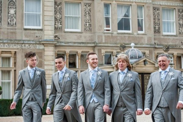 groom & groomsmen in grey slim fit wedding morning suit with pale blue cravat
