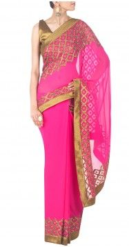 So Gorgeous #Saree in Magenta & Gold by Priyal Prakash https://www.facebook.com/priyalprakashhouseofdesign