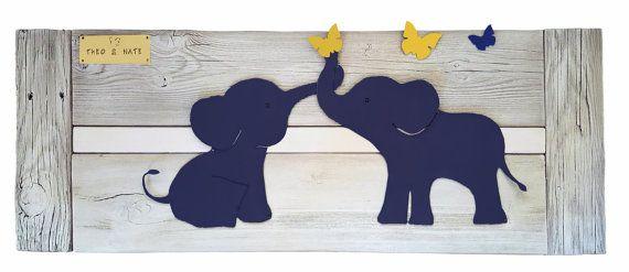 Elephant Twin Nursery Wall Art Navy Baby room by Authenticaa