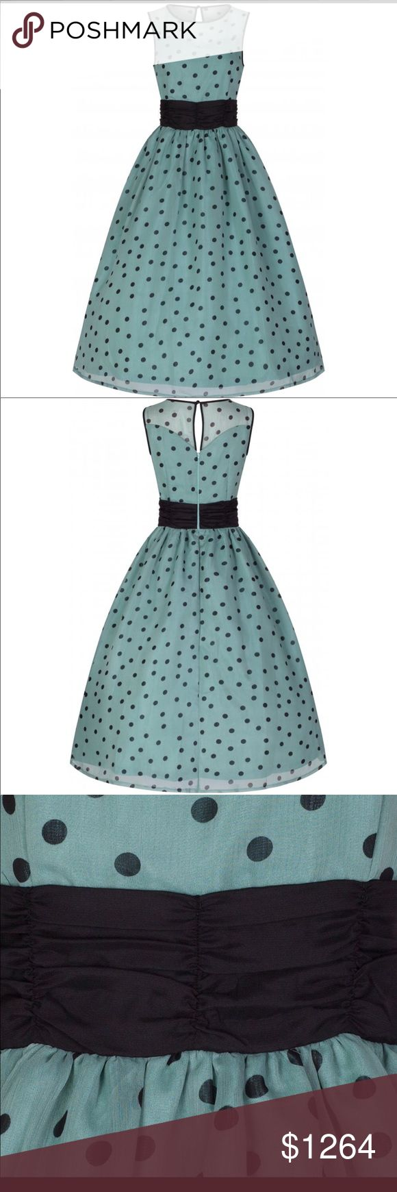 Coming Cindy Popularly Polka Dot Print 50's Dress Flattering sage green and black polka dots in a beautifully flouncy fabric, with a contrasting waist defining ruched sash waistband. Made from a good quality chiffon fabric Wide flared skirt Flattering sweetheart illusion neckline Contrasting piping around neckline and armholes Fully lined Single loop button & hidden back zip fastening. petticoat will be required to create the look in the picture. Material 100% Polyester this dress fits small…