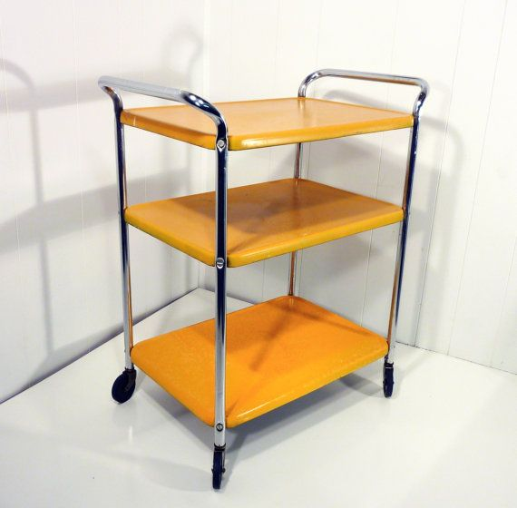 Golden Yellow Metal Kitchen Cart Movable Painted By Gillardgurl, $73