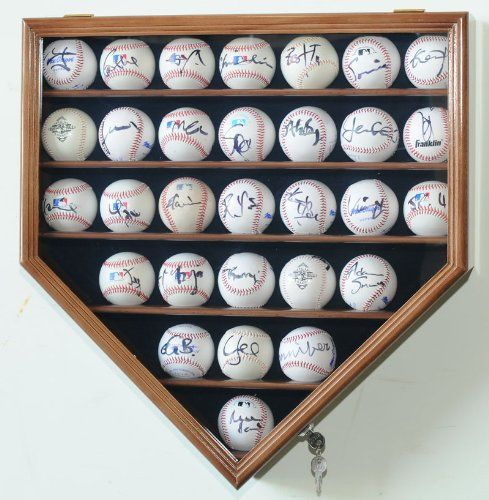 Amazon.com : 30 Baseball Display Case Cabinet Holder Rack Home Plate Shaped w/ UV Protection- Lockable -Black : Sports Related Display Cases : Sports & Outdoors