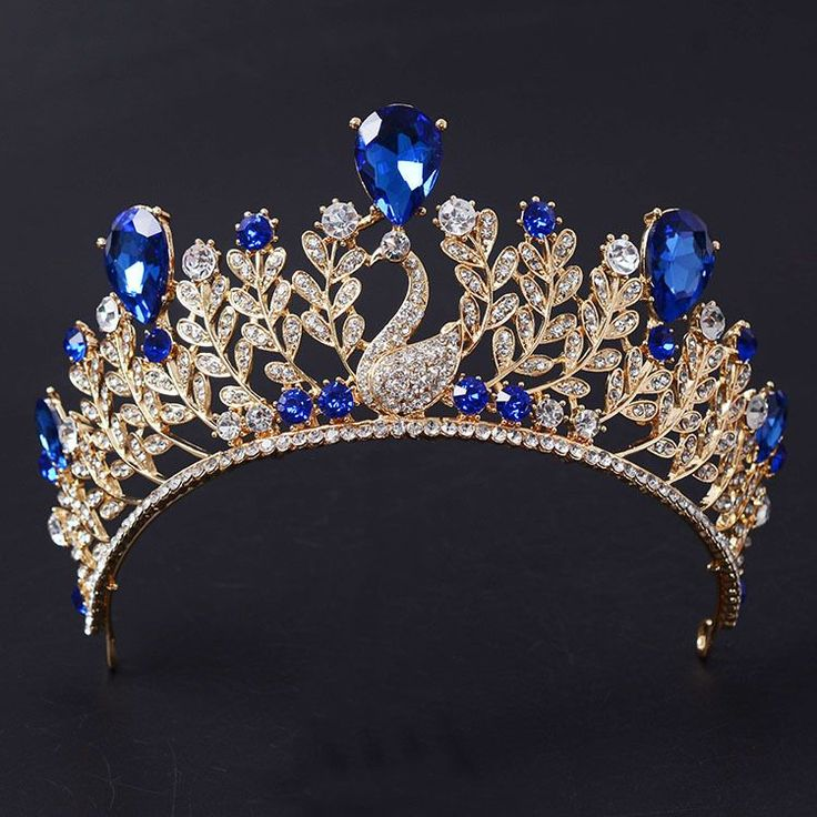New Arrival Magnificent Blue Rhinestone peacock  women Tiara Fashion Shiny Crystal Gold crown for Bride Wedding hair accessories
