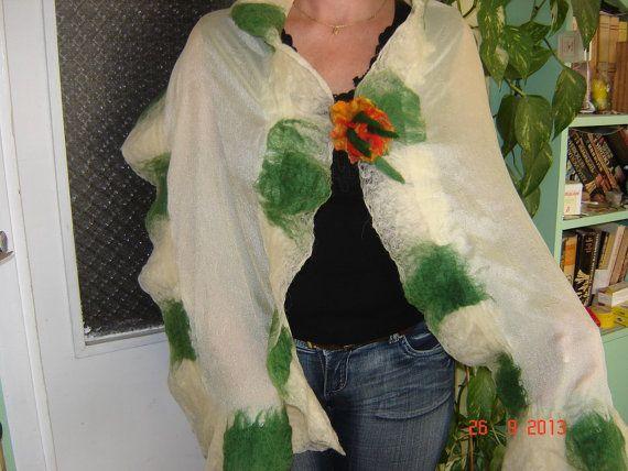 Nuno Felt Scarf Jasmine All Natural Silk and by BGHandcraftHeaven