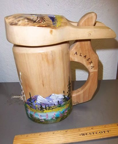 Wood Alaska Beer Mug / Stein, hand painted, Carved & made in Alaska