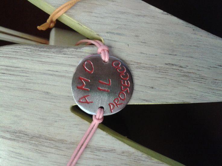 bracciale con piastra in argento 925 e smalto a freddo