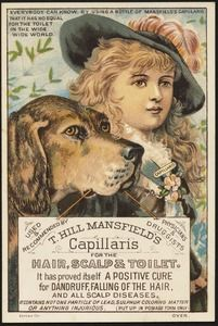 T. Hill Mansfield's Capillaris for the hair, scalp & toilet. It has proved itself to be a positive cure for dandruff, falling of the hair, and all scalp diseases.