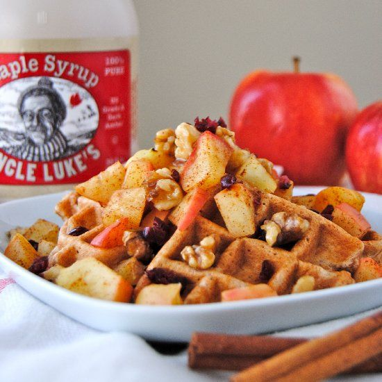 ... waffle topped with crunchy toasted walnuts and warm cinnamon apples