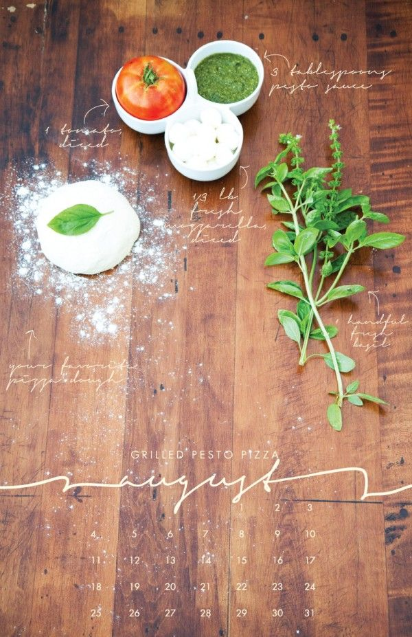 Designer Liz Carver has made a delicious 2013 wall calendar featuring the ingredients for seasonal recipes on each month.