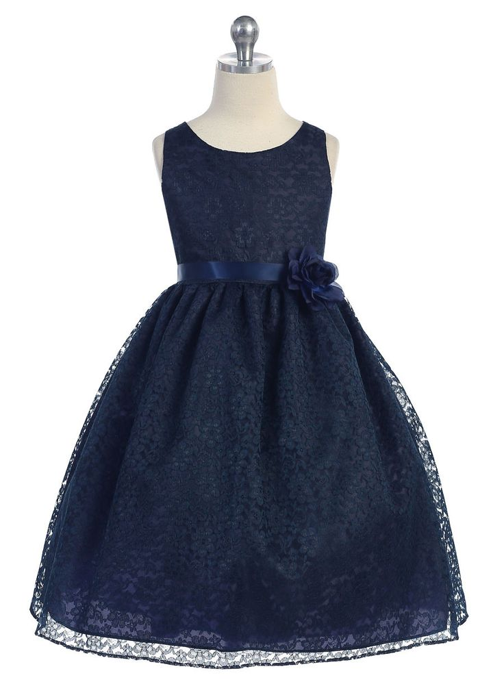 Girls Navy Blue Floral Lace Dress by Calla D749