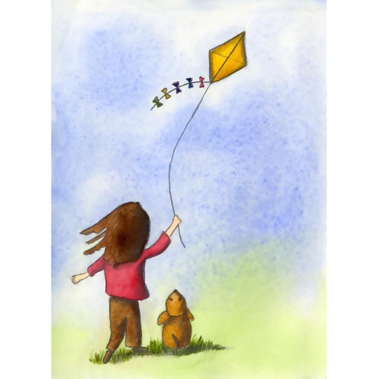 flying kite illustration - photo #17