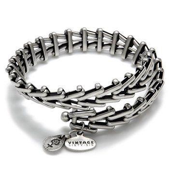 "Alex and Ani Vintage ""Gypsy 66"" Silver-tone Brass Wrap Bracelet"