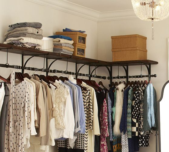 New York Shelf & Clothes Rack | Pottery Barn-perfect for small space or added hanging space.