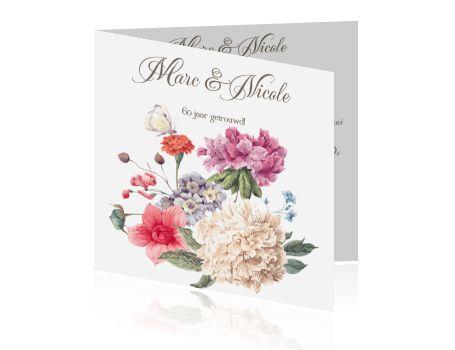 60 jaar getrouwd? Jubileumkaarten maken met bloemen en vlinder. Stijlvolle kaarten voor een huwelijksjubileum. Een prachtige bloemenkaart.