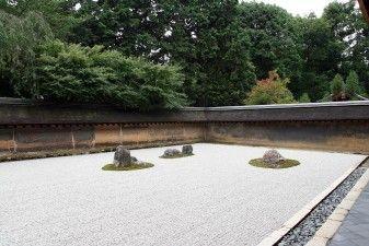 """Kyoto, Tempio buddhista Zen Ryoanji: giardino secco """"kare sansui"""", 1450 (patrimonio mondiale dell'UNESCO)"""
