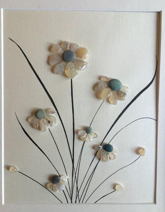 Pebble art, home decor, beach home decor, flower art, framed art