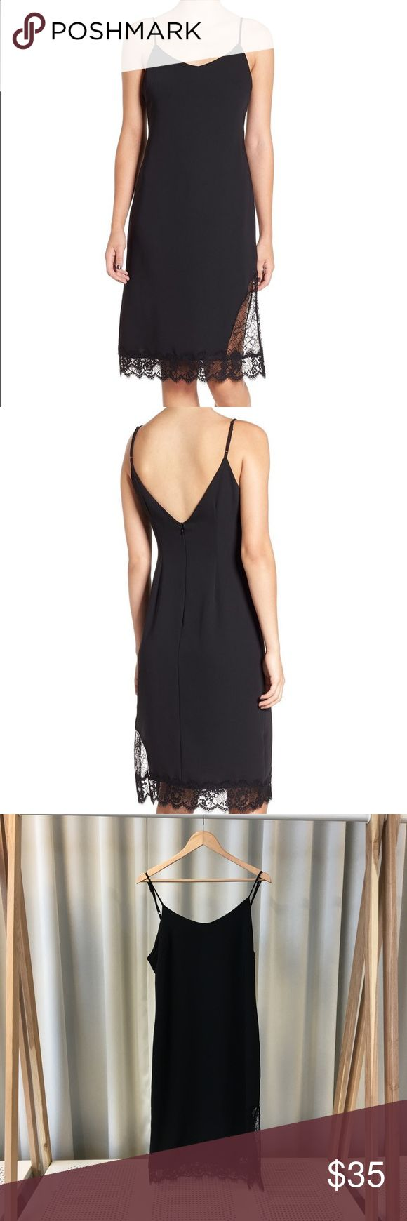 Leith Lace Hem Slip Dress Lightweight back slip dress with split hemline and delicate lace hem. Features a v neckline, adjustable straps, back zip closure, and is fully lined. 100% polyester. Label is Leith, from Nordstrom. Please carefully review each photo before purchase as they are the best descriptors of the item. My price is firm. No trades. First come, first served. Thank you! :) Nordstrom Dresses Midi