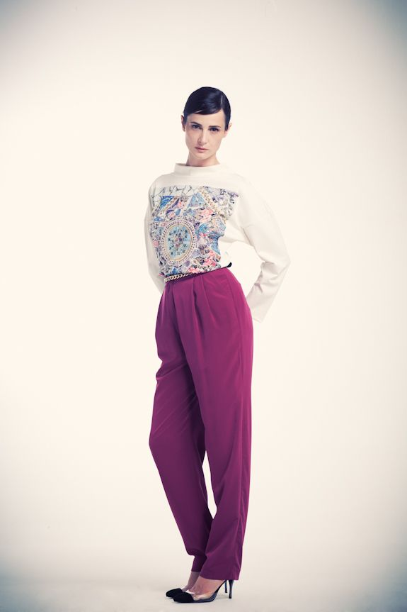 Gaudian mosaic printed funnel neck sweatshirt with soft pleated peg trousers  visit www.asliguler.com to shop online
