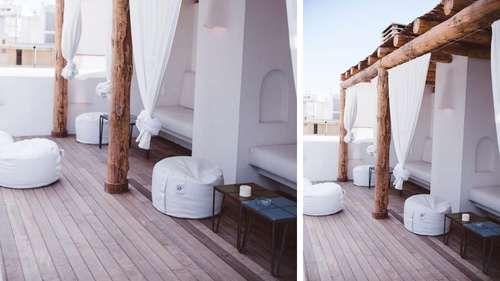toit terrasse abrité salon de jardin blanc tissu