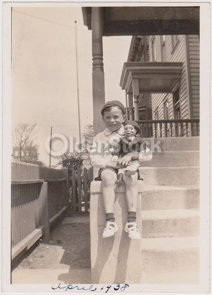 Cute Little Boy with Charlie McCarthy Ventriloquist Doll Vintage Snapshot Photo