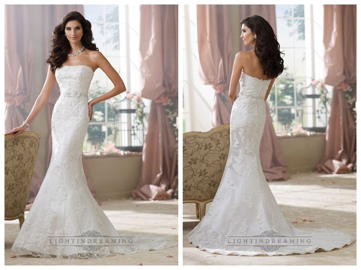 Strapless Lace Appliques Mermaid Wedding Dresses http://www.ckdress.com/strapless-lace-appliques-mermaid-wedding-  dresses-p-444.html  #wedding #dresses #dress #lightindream #lightindreaming #wed #clothing   #gown #weddingdresses #dressesonline #dressonline #bride