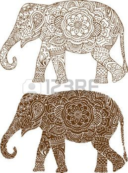 mehendi: silhouette of a elephant in the Indian mehendi patterns