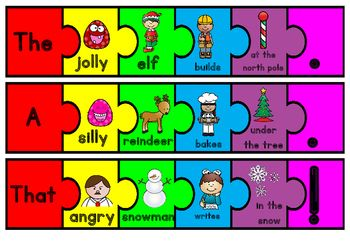 Silly sentences- Free Christmas sentence structure activity activities word work  Silly Christmas Sentences FREEBIE by Markers and Mochas | Teachers Pay Teachers