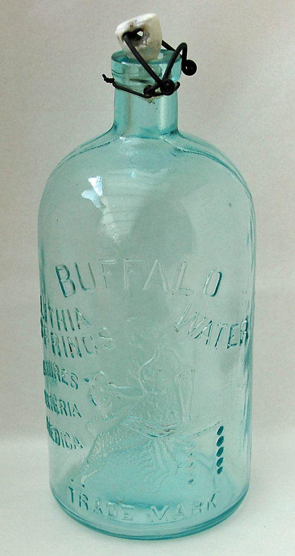 Antique Embossed Blue Green Glass Bottle Buffalo by hensnest10, $135.00