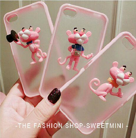 Corée du joli mode 3D bande dessinée Pink Panther dur Ultra Thin cellulaires cas de téléphone portable couverture pour Iphone 5S 5 4S 4 coque de protection(China (Mainland))