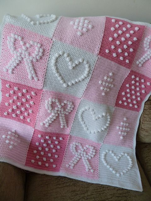Pink and White Bobbly Squares Blanket. Pattern from the book 200 Crochet Blocks by Jan Eaton. (I have that book! YAY!) - Gardening For You
