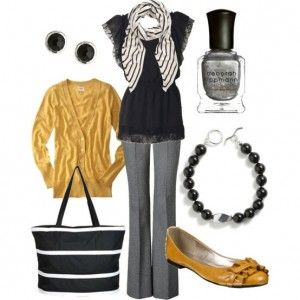 women outfits for workWork Clothing, Colors Combos, Fashion, Style, Work Wear, Workoutfit, Work Outfits, Black, Mustard Yellow