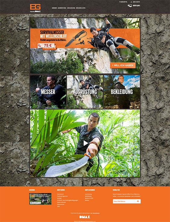 #ShopwareDesign #ShopwareTheme #ShopwareShop #eCommerce #eCommerceSoftware #eCommerceplatform #Onlineshop #Outdoor #BearGrylls #DMAX