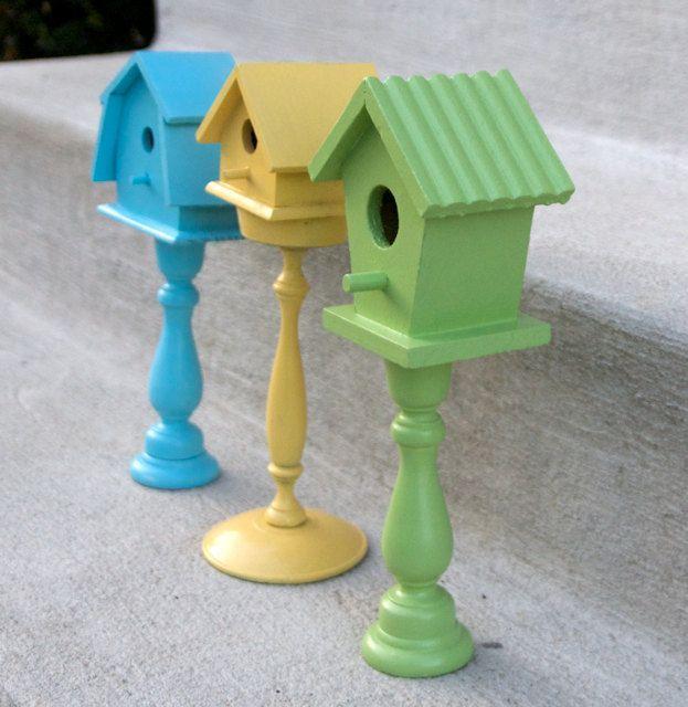 Painted Pedestal Birdhouse Set - Aqua, Yellow, Green - Shabby Chic - Cottage Decor. $ 18, via Etsy.