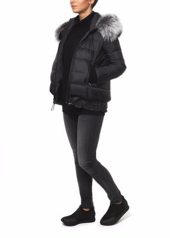 Jessimara 'Carly' Black Bomber Jacket With Silver Fox Detachable Fur hood