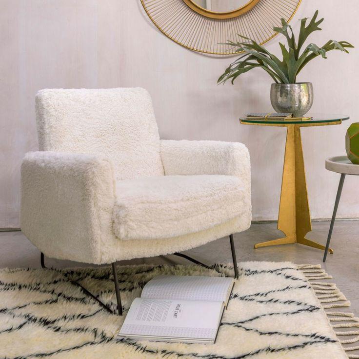 Wilbur Fluffy White Armchair | White armchair, Armchair ...