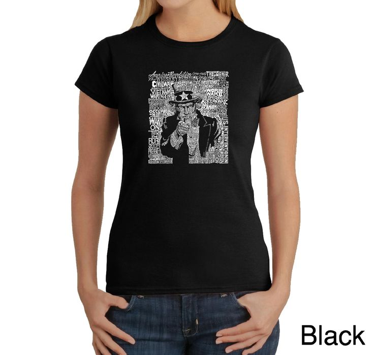 Los Angeles Pop Art Women's Word Art T-shirt - Uncle Sam - Online Exclusive, Size: L;XL;XXL;M;S;XS, Pink;Green;Blue;Red;Black