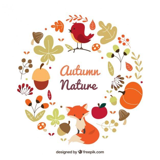 動物と秋の自然の花輪 無料ベクター