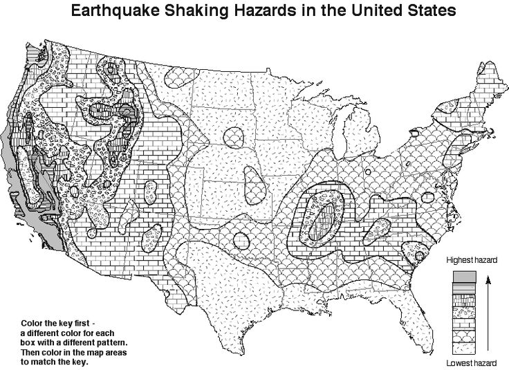 Coloring Page Earthquake Hazards in the US