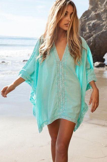 Frauen Sommer Kleid V-ausschnitt Kaftan Kimono Kleid Pareo Strand Saida de Praia Badeanzug