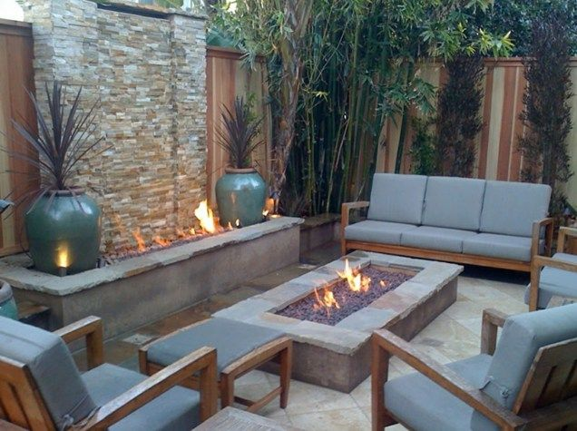 awesome   Backyard Fire Feature  Tropical Landscaping  JDS Landscape Design  Hermosa Beach, CA