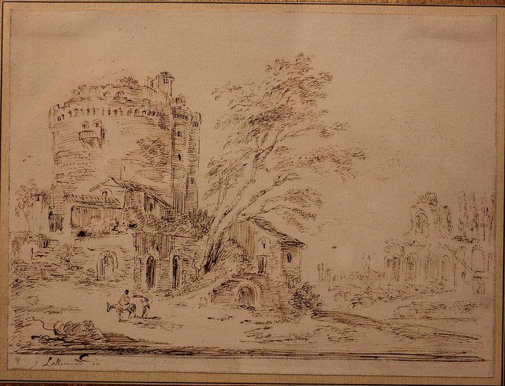 Jean-Baptiste Lallemand (Dijon 1716 - Paris 1803) Paysage animé. Plume et encre brune. 15 x 19,5cm. Signé en bas à gauche.