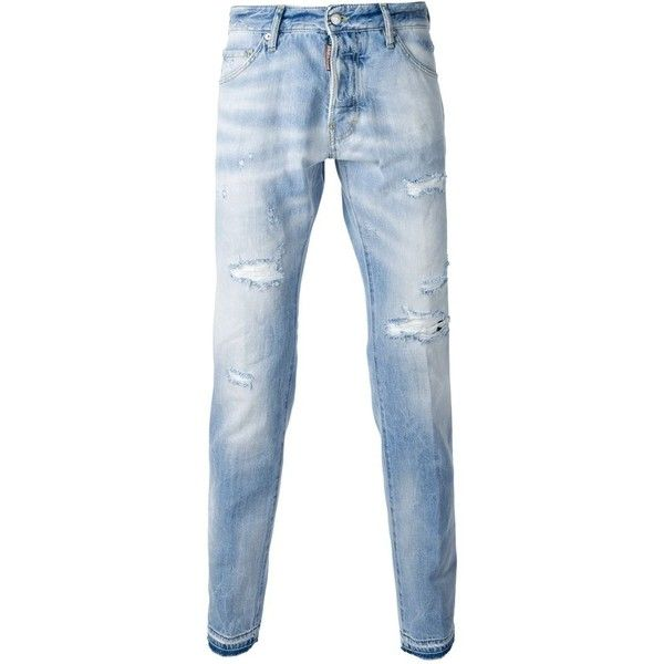 DSQUARED2 'Guy' jeans ($373) ❤ liked on Polyvore featuring men's fashion, men's clothing, men's jeans, mens torn jeans, mens distressed jeans, mens destroyed jeans, mens stone wash jeans and mens ripped jeans