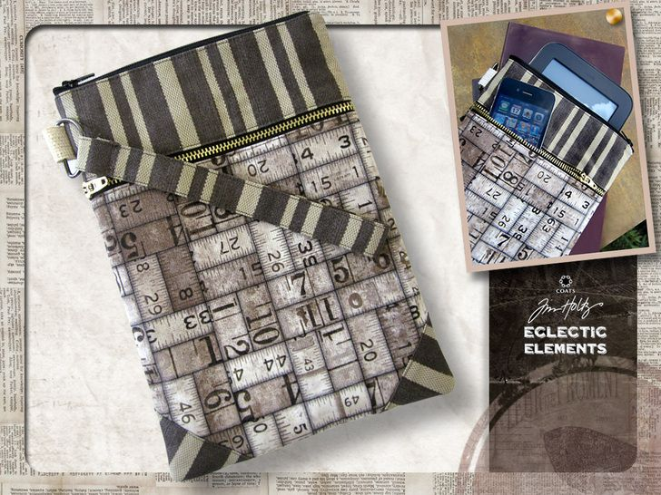Eclectic Elements by Tim Holtz for Coats - Double Zipper Device Sleeve | Sew4Home