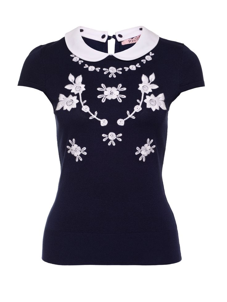Darlington Knit Top | Navy And White | Tops