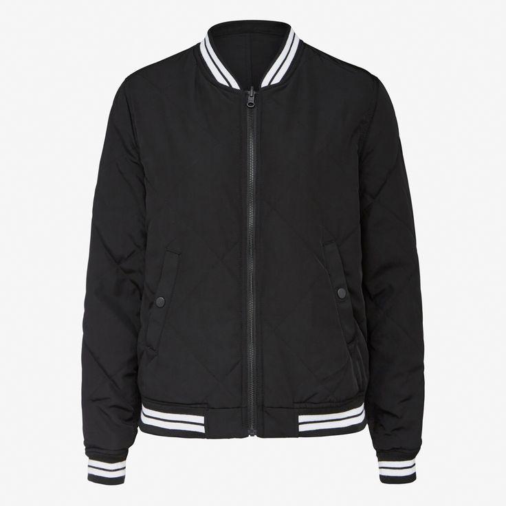 Our classic bomber silhouette with a twist.  Featuring a quilted diamond design and sports stripe rib detailing on neck, cuff and hem, on one side, this bomber jacket can effortlessly transform into a classic black bomber jacket on the reverse.  Crafted in a water resistant fabrication and featuring black hardware, it is sure to see you through the majority of winter months. MAIN/LINING: 100% POLYESTER, Cold Hand Wash
